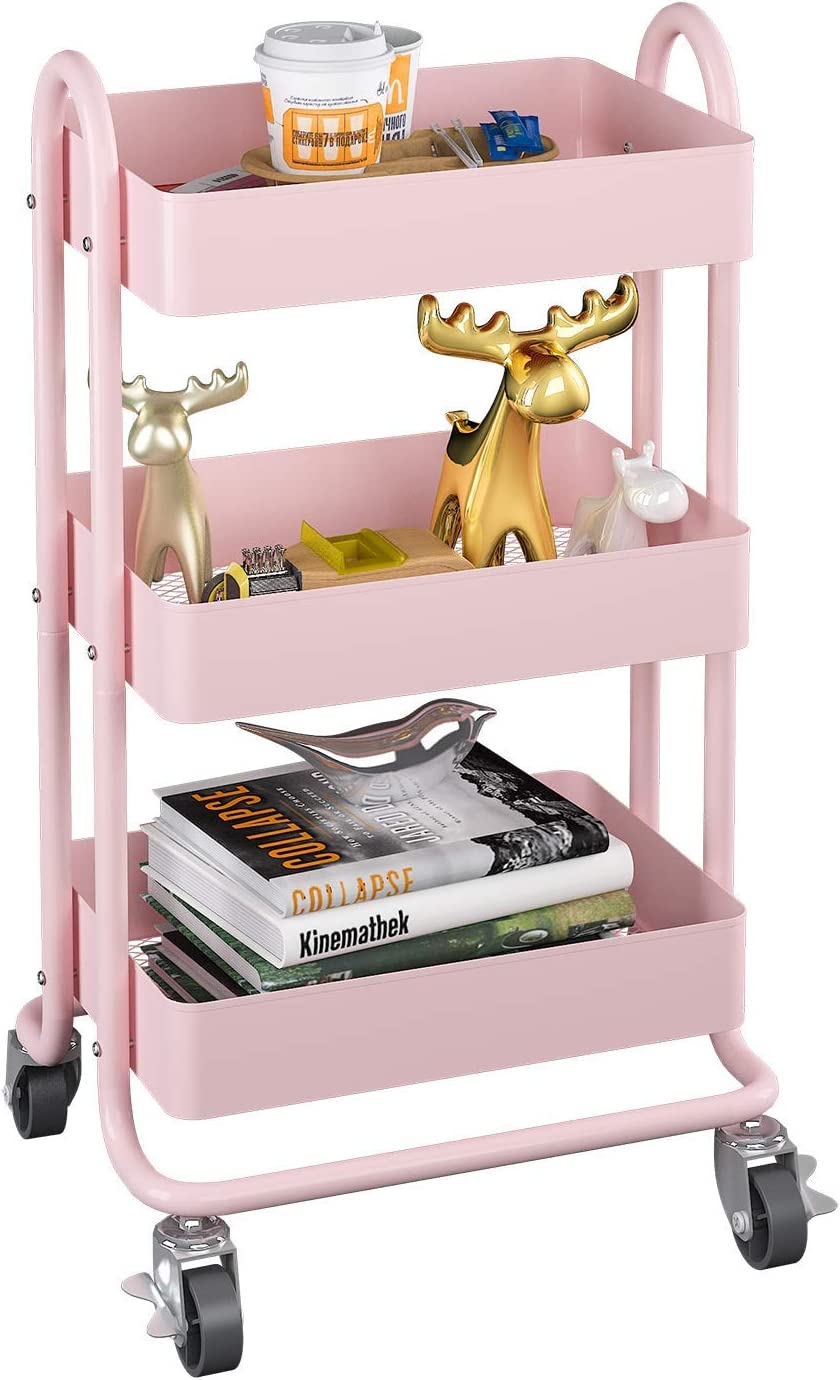 MIOCASA 3-Tier Metal Utility Rolling Cart, Heavy Duty Multifunction Cart with Lockable Casters, Easy to Assemble, Suitable for Office, Bathroom, Kitchen, Garden (Pink)