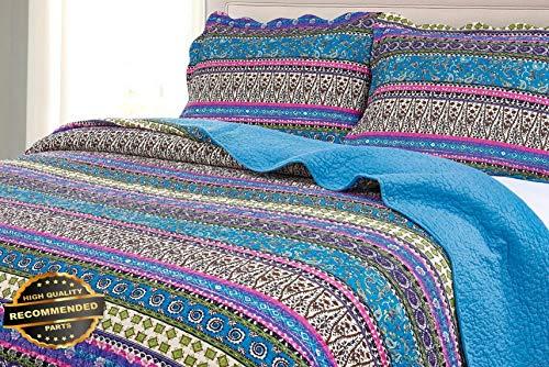 Werrox Odette 3-Piece Boho Chic 100% Soft Cotton Bohemian Quilt Set Queen Size | Quilt Style QLTR-291266857