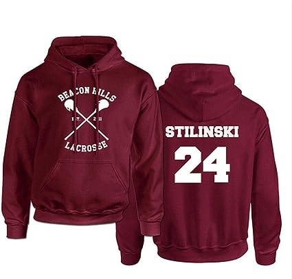 Divertente Lacrosse Felpa con cappuccio adulto Stilinski Lacrosse # 24 Felpa con cappuccio Felpa con cappuccio Stilinski Lahey Unisex