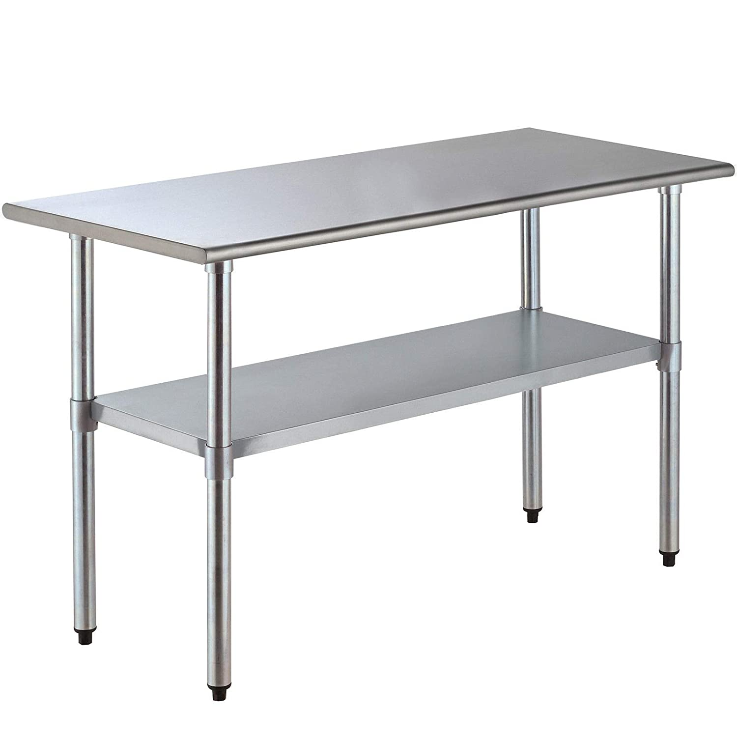 Stainless Steel Catering Kitchen Work Table Bench With Extra 2 Tier Top Shelf