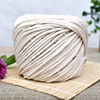 Topuality Natural Cotton Rope Softer Twisted Natural Bohemia Macrame Cord Diy Wall Hanging Plant Hanger Craft Making Knitting Cord Rope Natural Color 4mm 100m Multi