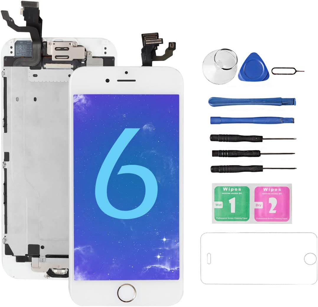 for iPhone 6 Screen Replacement White with Home Button and Camera, Drscreen for A1549, A1586, A1589 Full Assembly 3D Touch LCD Display Touch Digitizer Replacement with Repair Tool, Screen Protector