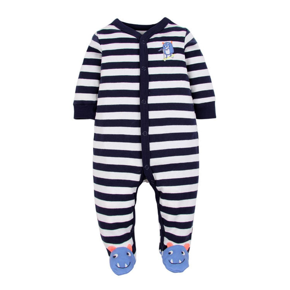 Babe Maps Striped Footed Pajama Sleeper 100% Cotton