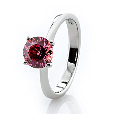 3254c742d Glistening of elegance made with Zirconia. Fancy Pink crystal solitaire ring.  1cttw round Pure