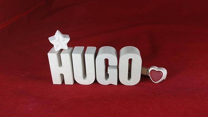 Hugo Deko beton steinguss buchstaben 3d deko namen hugo mit und