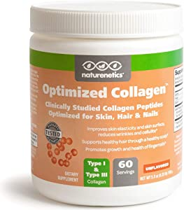 Hair, Skin and Nails Collagen Peptides Powder, Unflavored - Tested for Hormones - Paleo and Keto Friendly - New, Patented and Clinically Studied to Improve Skin Collagen - Non-GMO - 60-Day Supply