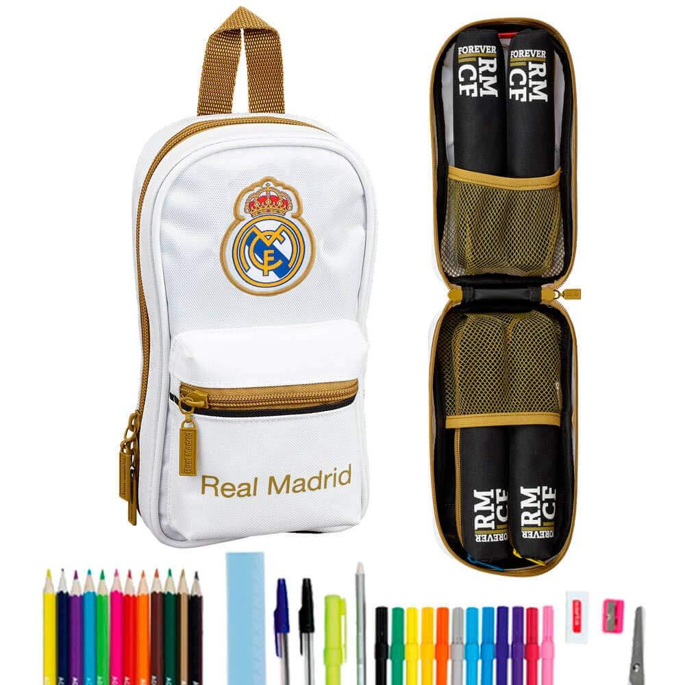 Real Madrid CF Plumier mochila 4 estuches llenos escolar 33 piezas