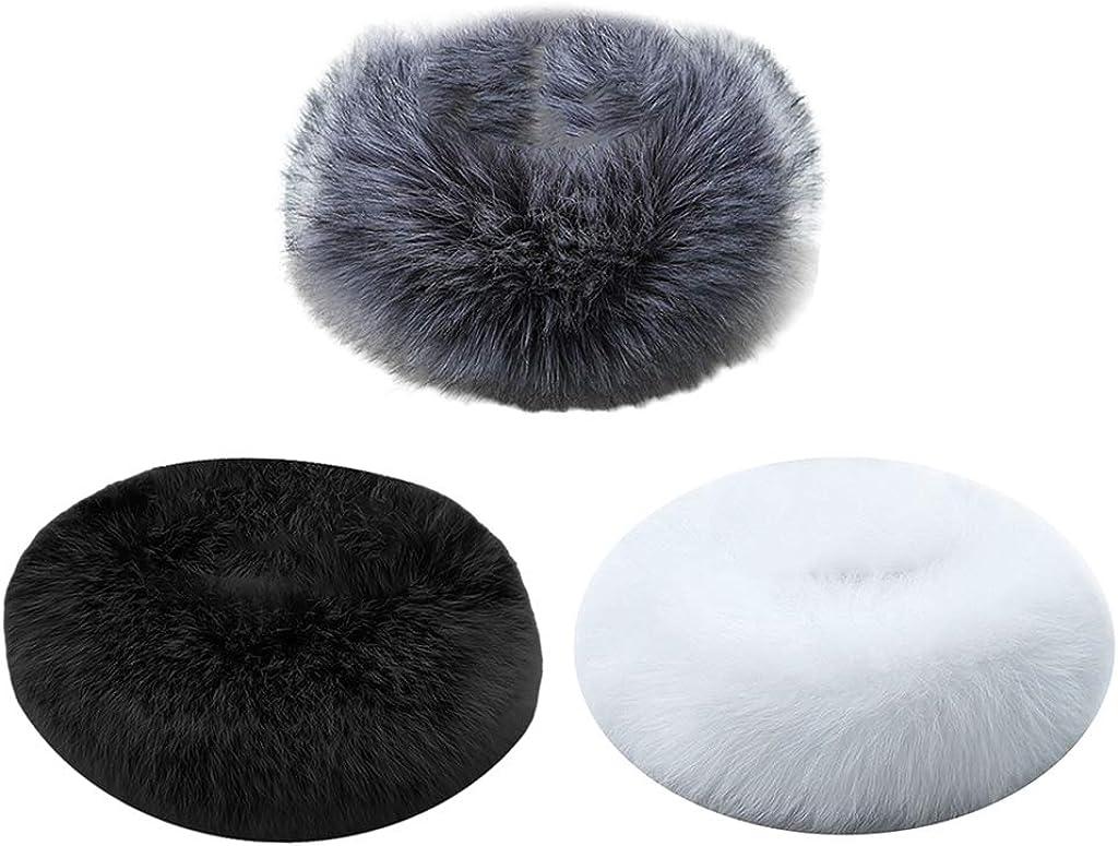 Bonarty 3pcs Mujer Cuello Bufanda de Cuero Sintética Esponjoso Collar Pelo Falso para Chaqueta Abrigo 53 x 10 cm
