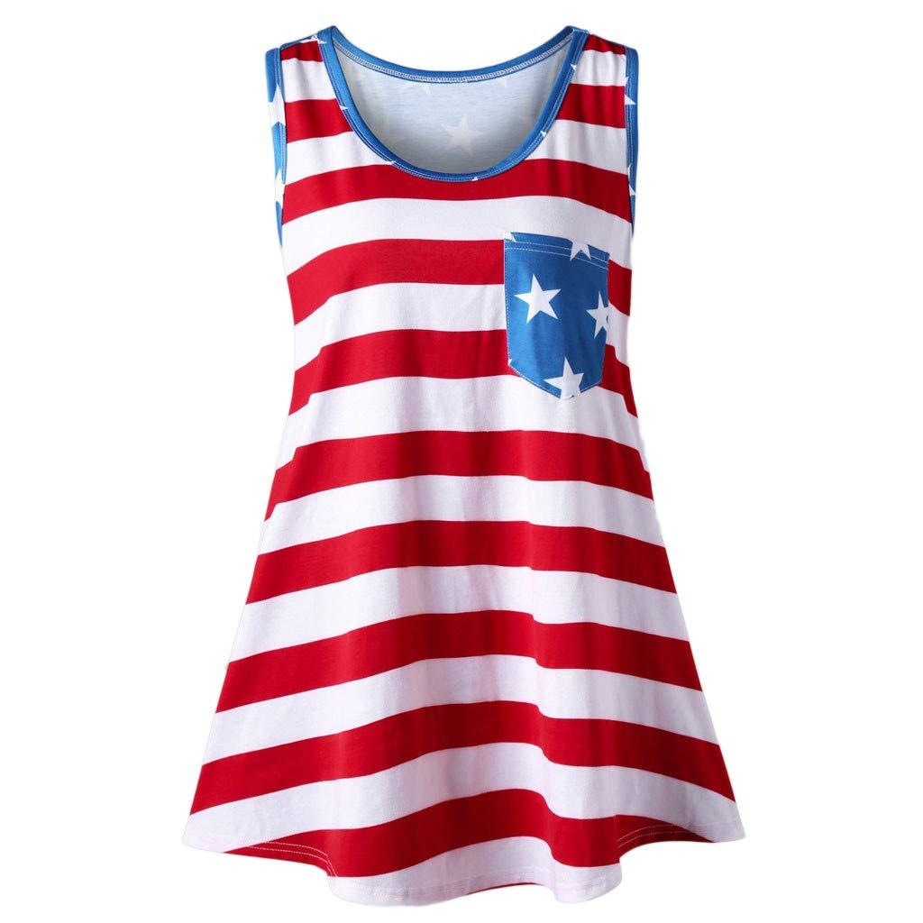 TnaIolral Women Vest Sleeveless Bow Flag Printing Shirt USA Flat Tunic Tank Blouse (S, Red)