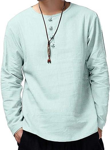 LANSKIRT Hombre Camisetas Algodón Blusa Casual de Manga Larga Liso ...
