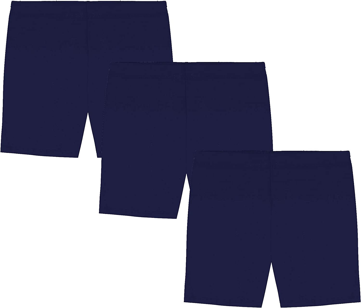 MY WAY Girls' Value Pack Solid Cotton Bike Shorts (Pack of 3) - Sizes 2-16