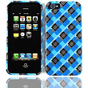 Cell Armor Snap-On Case for iPhone 5 - Retail Packaging - Transparent Design Blue/Black Plaid by Maris's Diary
