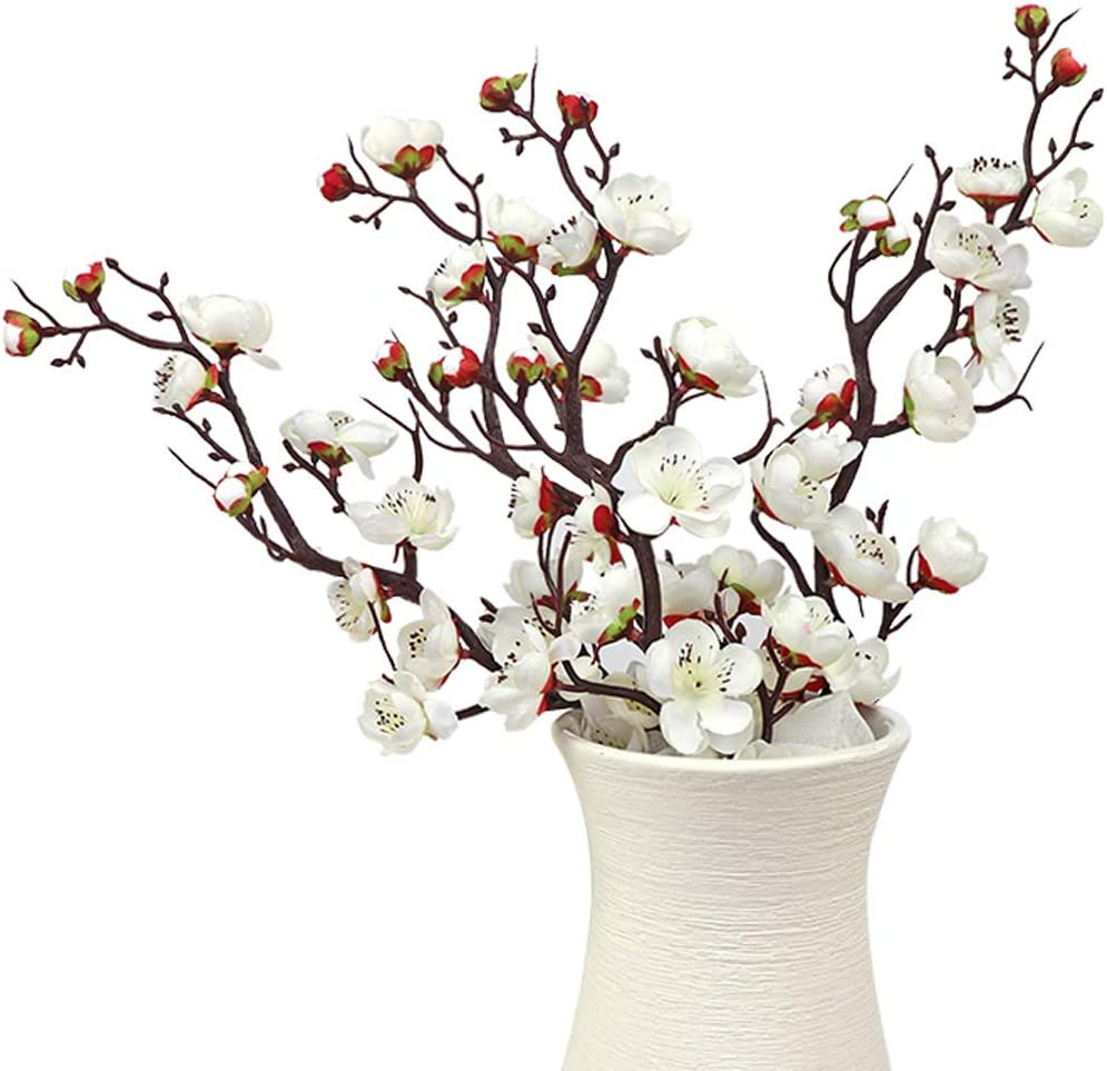LSME Artificial Silk Plum Blossom Branch Real Touch for Table Wedding Bouquet Home Decor 4 Branches (White)