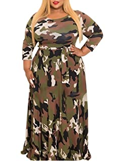 XUGWLKJ Plus Size Camouflage Maxi Dress for Women Long Sleeve Printed Long  Dresses 54cdddf46