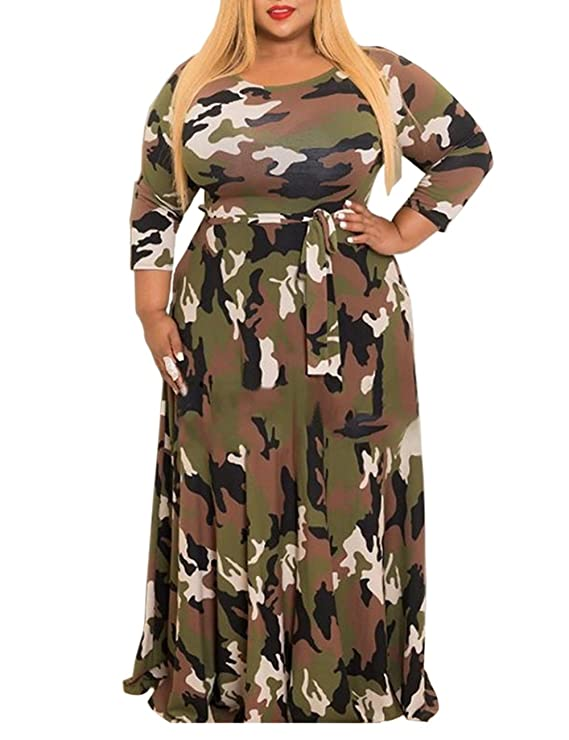 8275e5aa662b1 XUGWLKJ Plus Size Camouflage Maxi Dress for Women Long Sleeve Printed Long  Dresses at Amazon Women s Clothing store