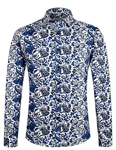 APTRO Men's Paisley Cotton Long Sleeve Casual Button Down Shirt APT1012 S]()