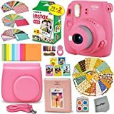Photo : FujiFilm Instax Mini 9 Instant Camera FLAMINGO PINK + EMOJI Film stickers + Fuji INSTAX Film (20 Sheets) + Custom Fitted Case + Instax Album + Colorful Stickers + Fun Frames + 4 Colored Filters + MORE