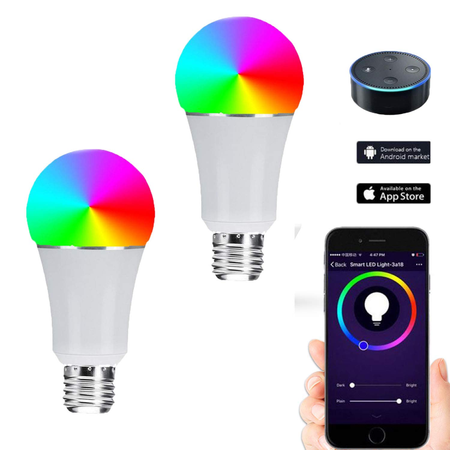 6000K No Hub Required ,E26 Dimmable Multi-Color Led,Compatible with  Alexa Google Assistant IFTTT E26,6pcs Smart WiFi LED Light Bulbs ,7W RGB and White SCHANIN