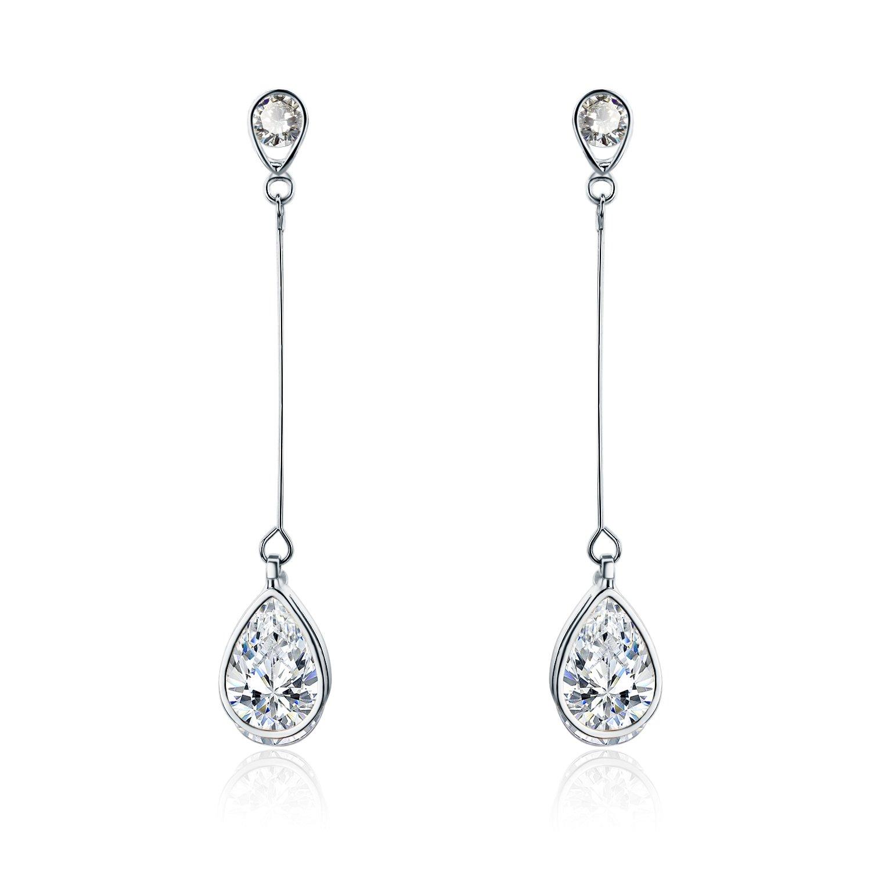 SBLING Platinum-Plated Cubic Zirconia Drop Earrings(3.9 cttw; Teardrop)