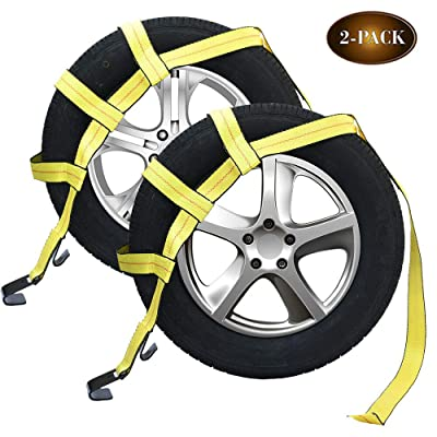 Robbor Tow Dolly Basket Straps with Flat Hook for Small to Medium Size Tires Over-The-Wheel Tie Down Bonnet Wheel Net: Automotive