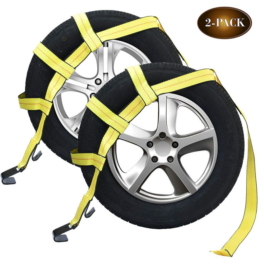 Robbor Tow Dolly Basket Straps with Flat Hook for Small to Medium Size Tires Over-The-Wheel Tie Down Bonnet Wheel Net