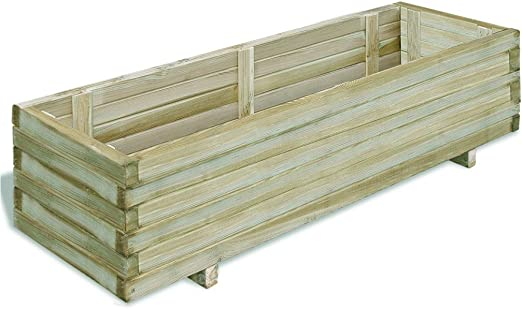 Festnight – Jardinera rectangular de madera 100 x 50 x 40 cm: Amazon.es: Jardín