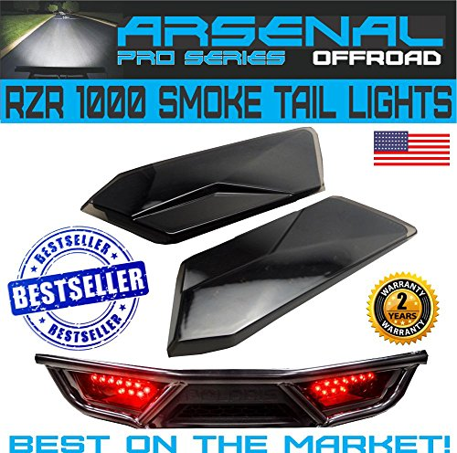 #1 Polaris RZR Smoked LED Tail Lights by Arsenal Rear Tail Lamp Replacement for POLARIS 2014-2017 RZR 1000 900 XP 4 TURBO (1 Pair) Best on the ()