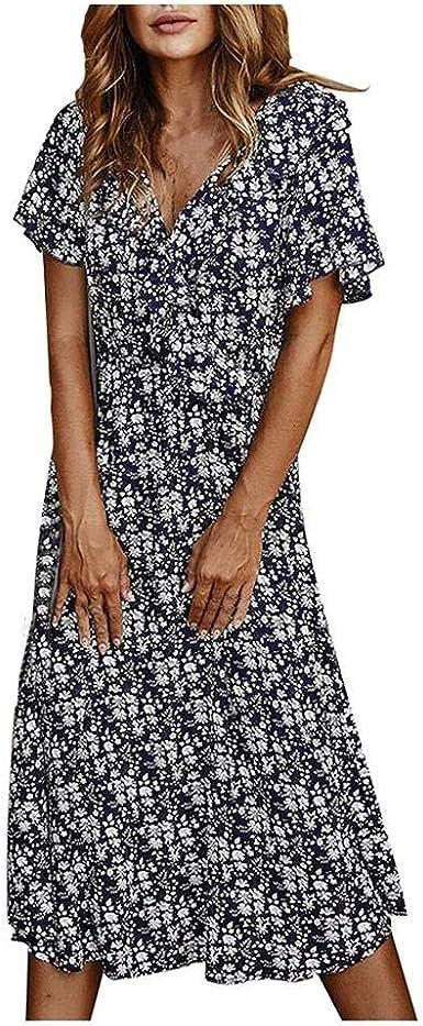 VJGOAL Mujer Vestido Bohemio con Cuello En V Manga Corta Volante Estampado Floral Verano Vestido de Playa Moda Casual Vestido de Fiesta Sexy: Amazon.es: Ropa y accesorios