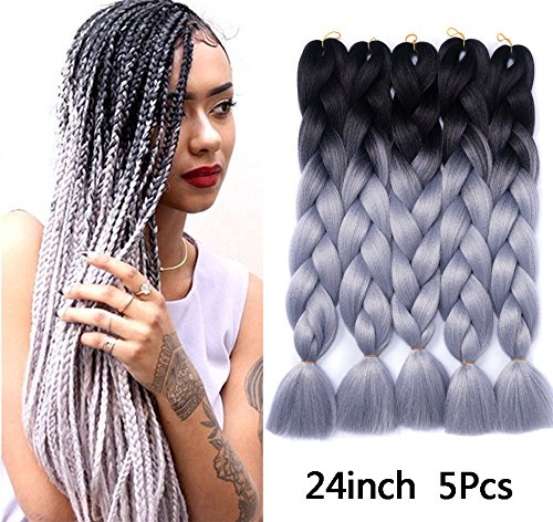 Besteffie Kanekalon Hair Extensions 24inch 5pcs/lot Synthetic Fiber for Twist Jumbo Braiding Hair Ombre Black-Silver Grey (Best Ombre Hair For Black Hair)