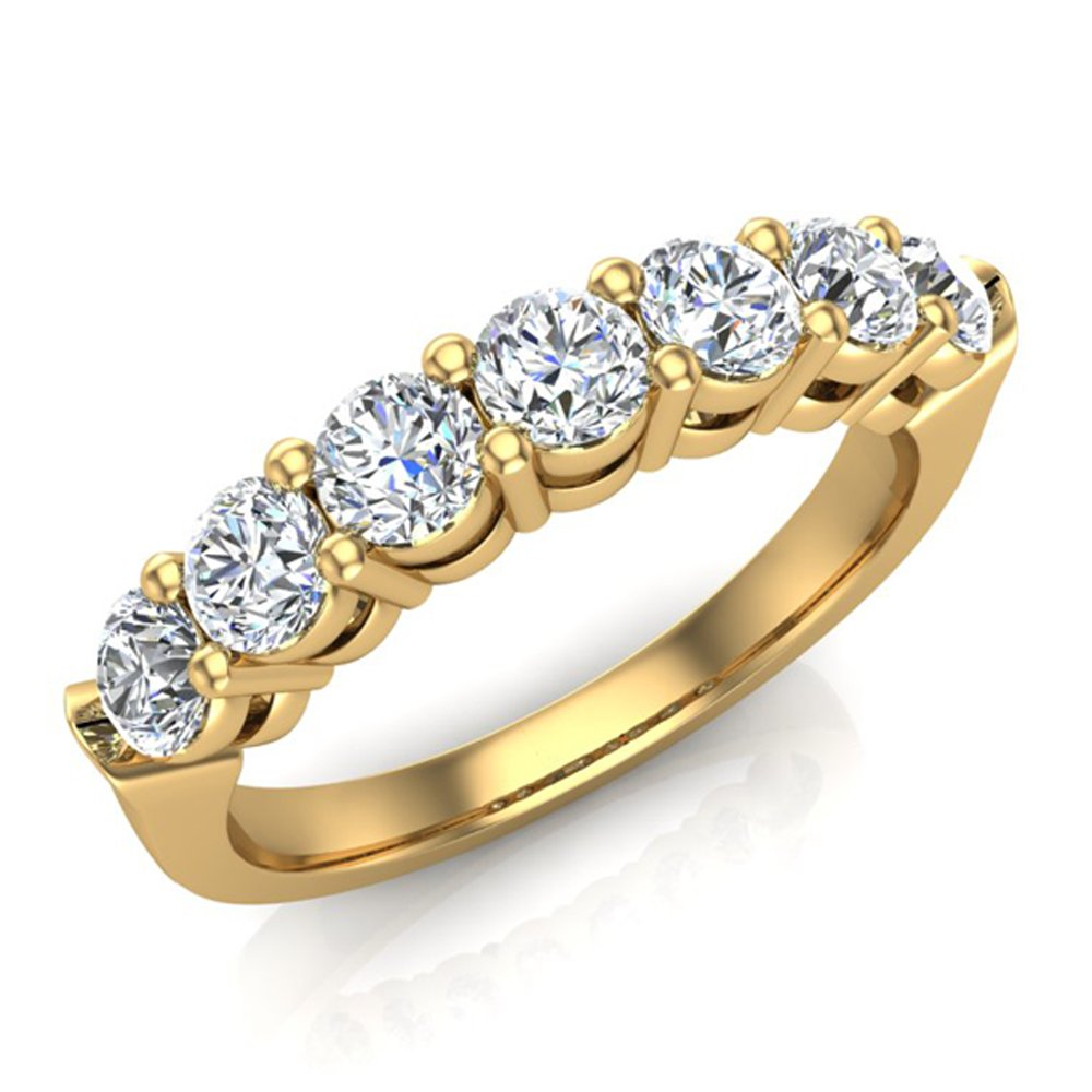 1.25 ct tw Seven Stone Diamond Wedding Band Ring 18K Yellow Gold (Ring Size 4)