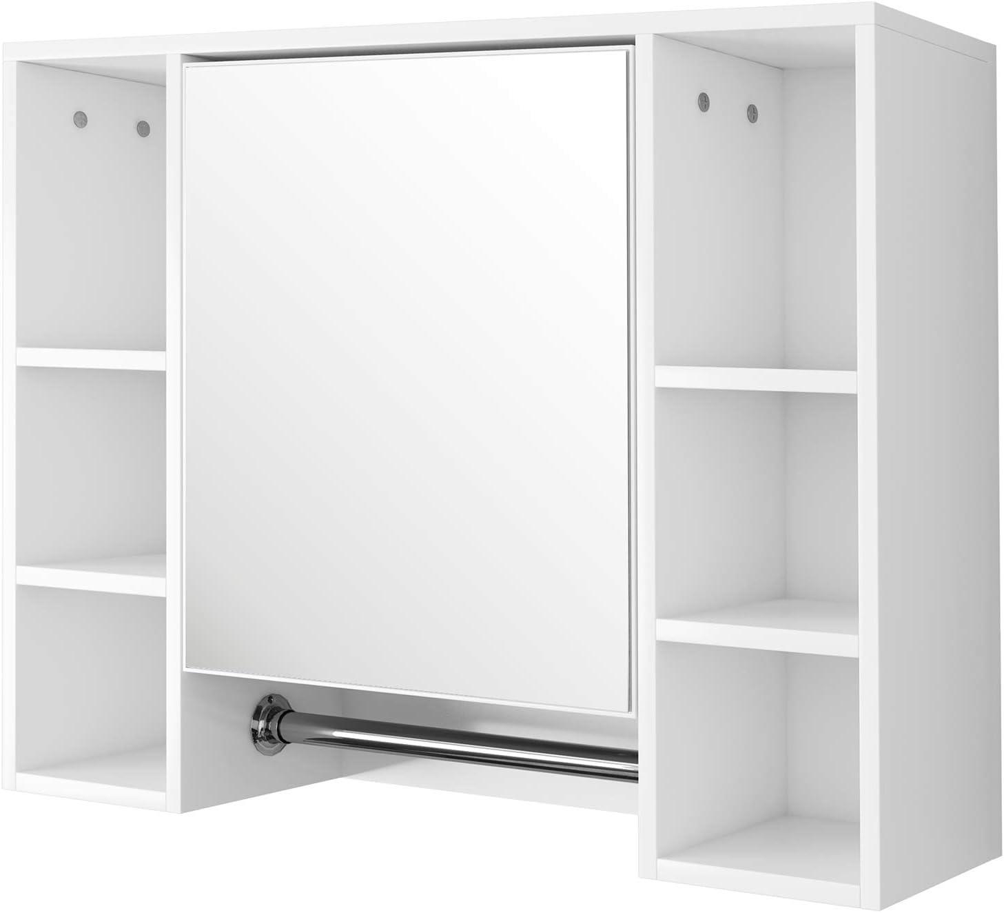 EUGAD Armarios con Espejo para Baño Cocina Mueble Espejo para Baño Mueble de Pared de baño Espejo con Estante Mueble Joyero de Madera con 8 Estantes Blanco 80x20x60cm 0131WY: Amazon.es: Hogar
