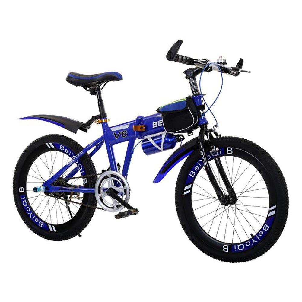 子供用折りたたみ自転車, 学生折りたたみ自転車 子供の折りたたみ自転車 超軽量 マウンテン バイク 少年少女 折りたたみ自転車 B07DK7JJSD 22inch|青 青 22inch