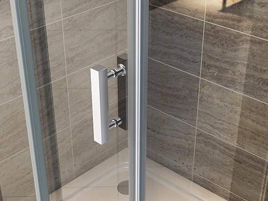 Cabina de ducha de 90 x 90 cm, ducha de esquina, mampara de ducha, puerta de ducha, puerta oscilante, vidrio de seguridad ESG, revestimiento Nano: Amazon.es: Bricolaje y herramientas