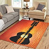 InterestPrint Home Decoration Music Note Guitar Sun Sea Ocean Landscape Area Rug Cover 7′ x 5′, Tree Reflection in Water Carpet Rugs Cover for Home Living Dining Room For Sale