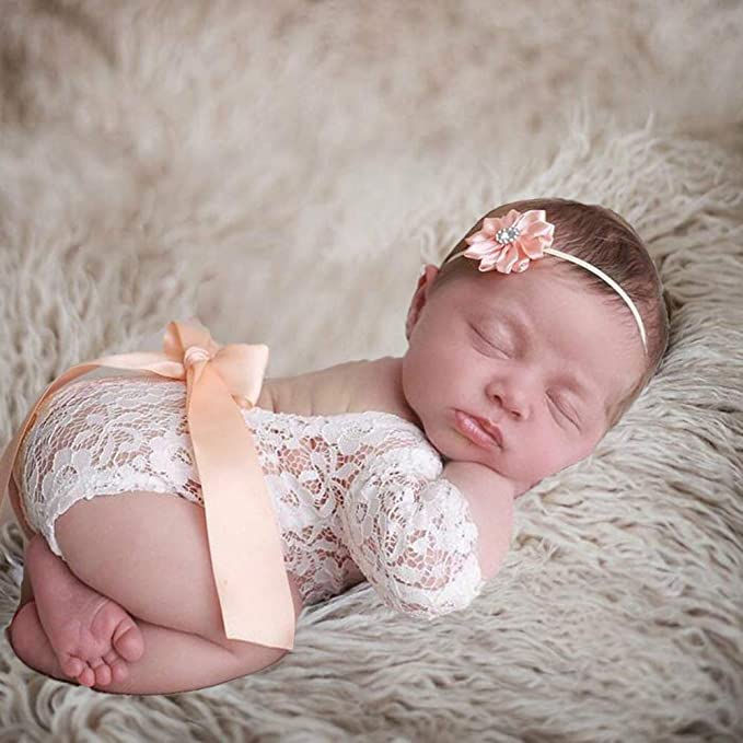TININNA Newborn Photography Prop Baby Girls Princess Lace Floral Romper Photo Shoot Props Outfits Flower Headband Set