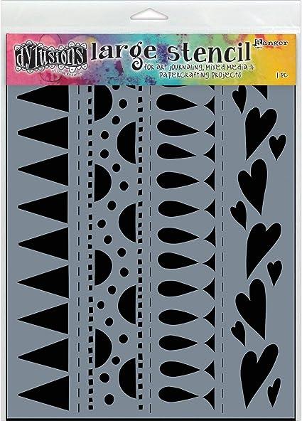 Heart Border Dyan Reaveleys Dylusions Stencils 9X12