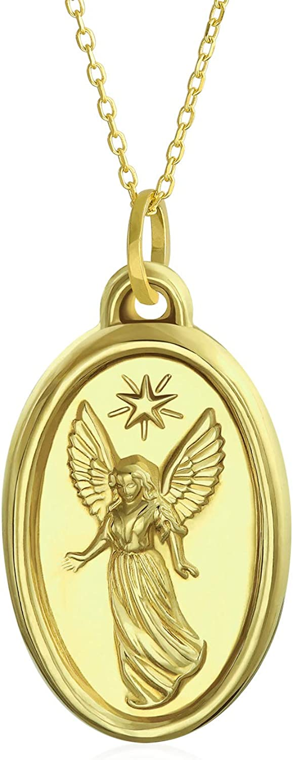 Virgin Mary Religious CZ Flower Real 14K Yellow Gold Pendant