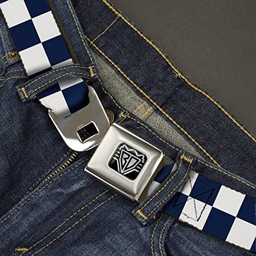 Checker Midnight Blue//White 1.0 Wide 20-36 Inches in Length Buckle-Down Seatbelt Belt