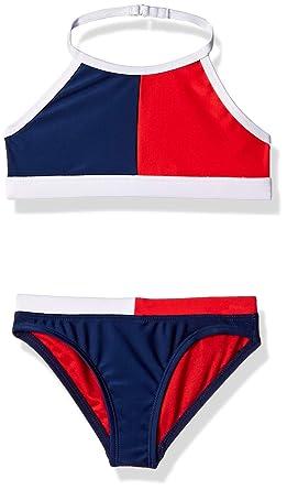 7d6d3441bbe Tommy Hilfiger Little Girls' Two-Piece Swimsuit, Flag Blue, ...