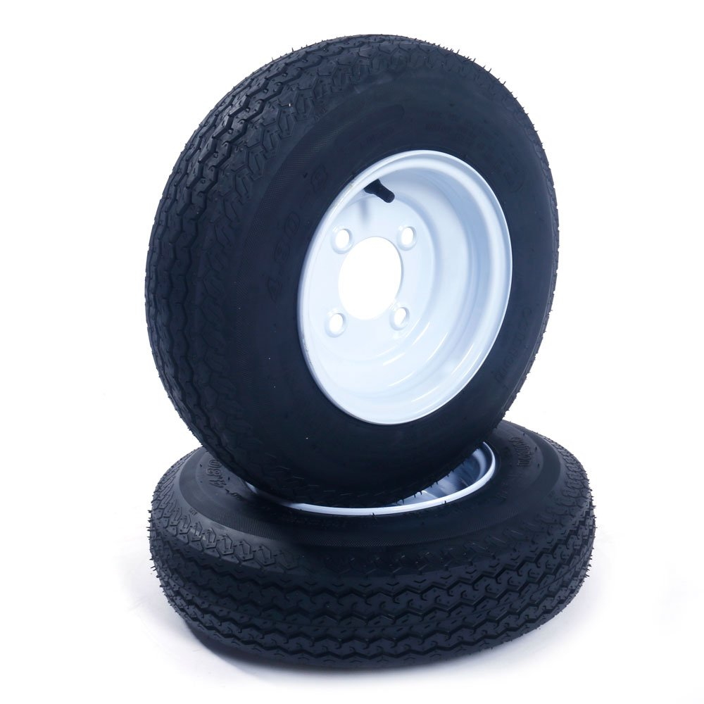2 New Trailer Tires & Rims 480-8 4.80 X 8'' LRB 4 Lug Hole Bolt Wheel White Spoke, 4 Ply / 4PR