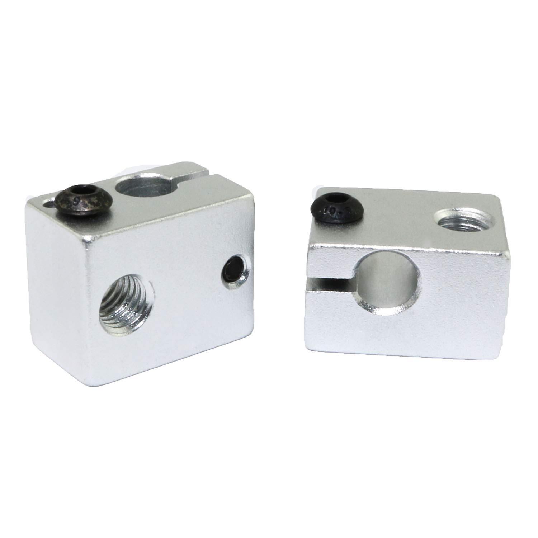 Ruiling 2PCS Silver E3D V6 Extruder Aluminum Heat Block Sandblasting Oxidation Treatment Heater Block 3D Printer Parts