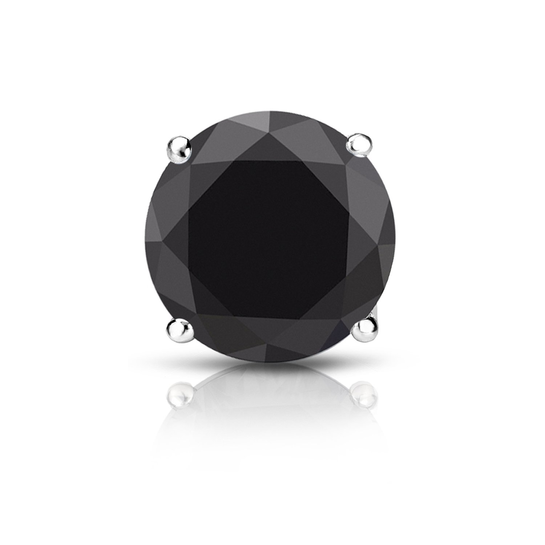 14k White Gold 4-Prong Basket Round Black Diamond SINGLE STUD Earring (2 ct, Black) Screw-Back
