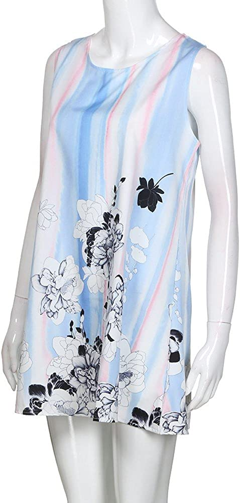 Vintage Boho Dress,Women Summer Sleeveless Loose 3D Floral Print Tank Dress Khaki
