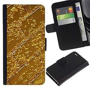 For Apple iPhone 4 / iPhone 4S,S-type® Bar Pattern Shiny Metal - Dibujo PU billetera de cuero Funda Case Caso de la piel de la bolsa protectora