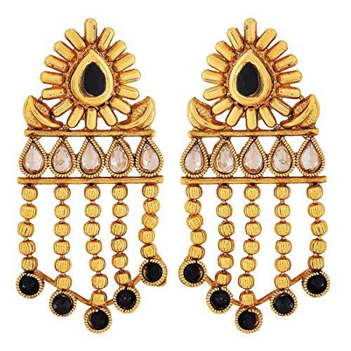 Maayra Kundan Party Classic Earrings Black Dangler Drop Wedding Festival Jewellery by Maayra
