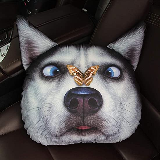 Youandmes 3D Cute Husky Print Pillow Cushion for Home Car Cushion 13 x 15inch