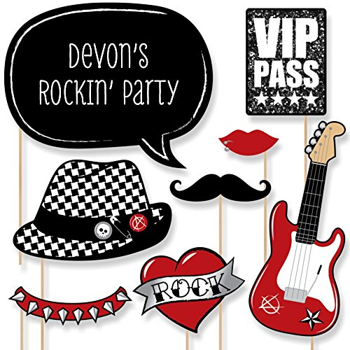 Big Dot of Happiness Custom Party Like a Rockstar Photo Booth Props Kit - Personalized Music Themed Party Supplies - 20 Selfie Props