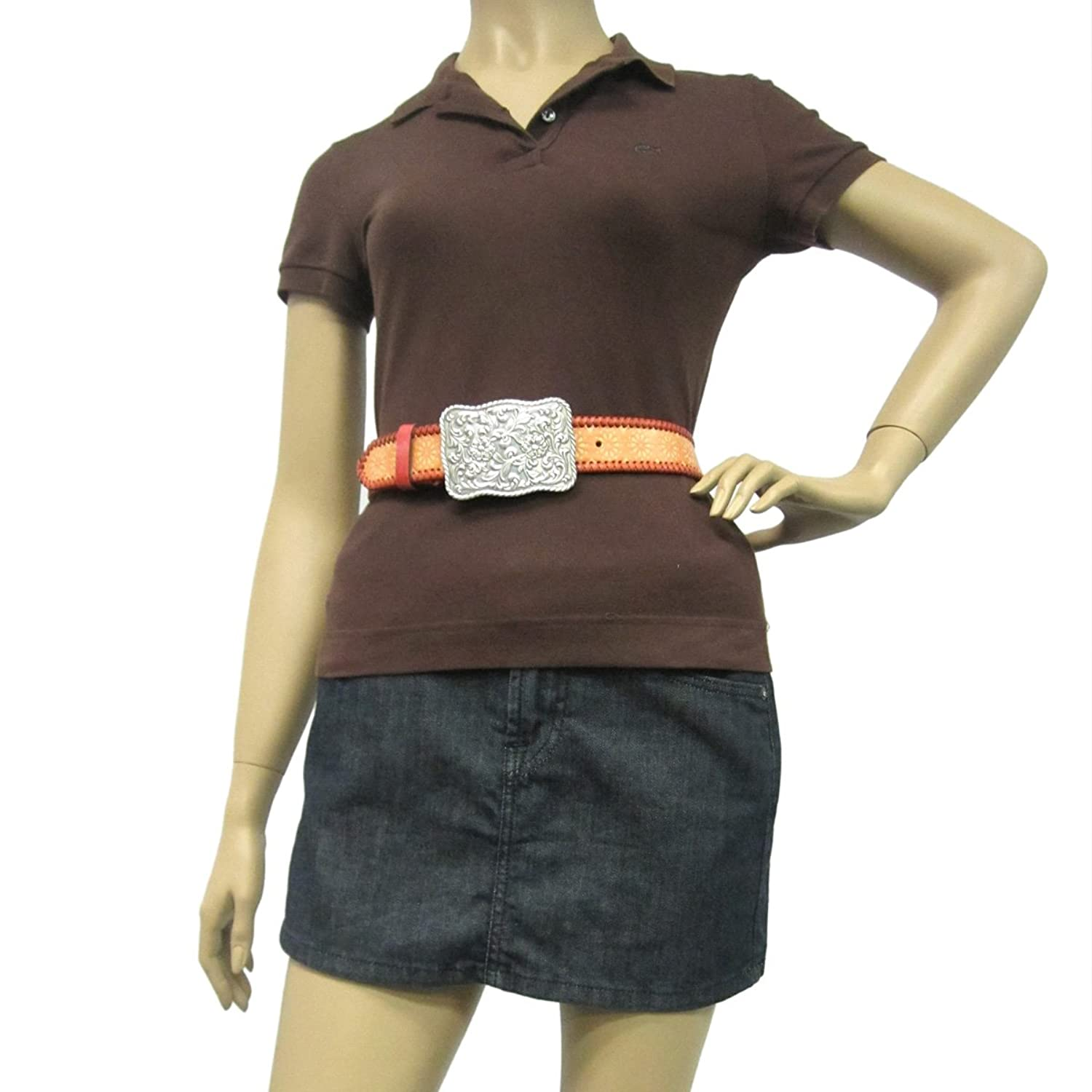 """1 1/2"""" Women's Floral Engraved Silver Buckle on Quality Patterned Circles Belt"""