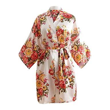 18071d8637ae2 Femme Kimono Robe de Nuit Peignoir Satin Fleurs Paon vêtements Chemise de  Nuit Paon Cardigan Robe
