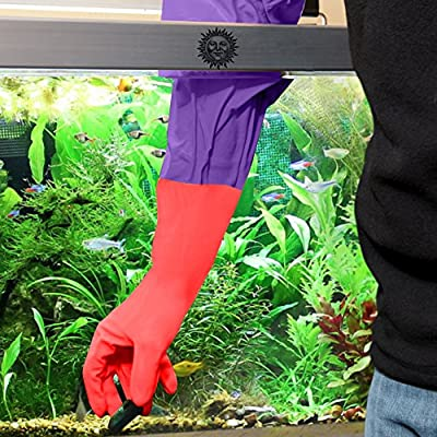 """2 Aquarium Water Change Gloves (20"""") - Keep hands & arms dry, allergen- and contamination-free during Fish tank maintenance: Elastic forearm seal and prevent leaks: Heavy-duty construction"""